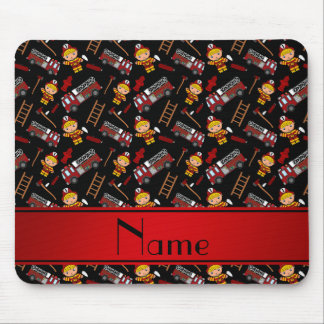 Personalized name black firemen trucks ladders mouse pad