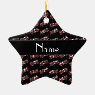Personalized name black firetrucks Double-Sided star ceramic christmas ornament