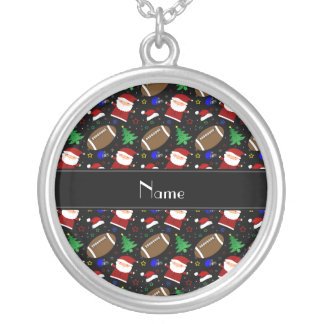 Personalized name black football christmas necklaces