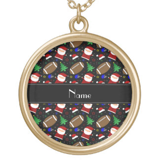 Personalized name black football christmas necklace