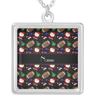 Personalized name black football christmas pendant