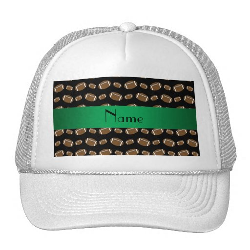 Personalized name black footballs hat