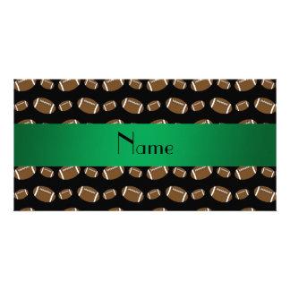 Personalized name black footballs custom photo card