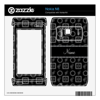 Personalized name black funky retro flowers skins for nokia n8