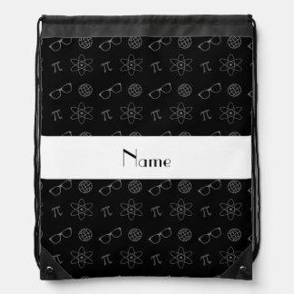 Personalized name black geek pattern backpack