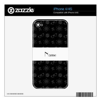 Personalized name black geek pattern iPhone 4S skins