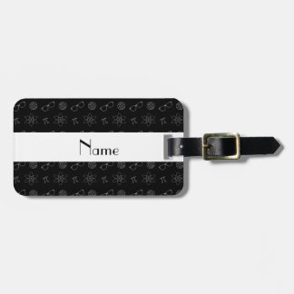 Personalized name black geek pattern tags for bags