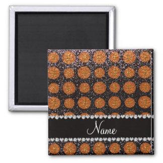 Personalized name black glitter basketballs fridge magnets