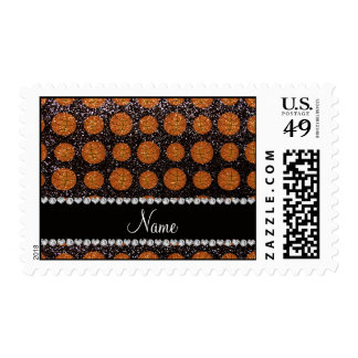 Personalized name black glitter basketballs postage stamps