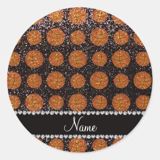 Personalized name black glitter basketballs round sticker