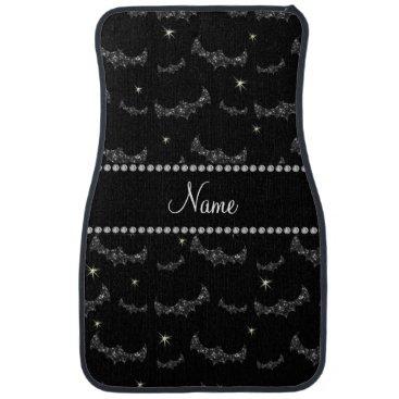 Halloween Themed Personalized name black glitter bats car mat