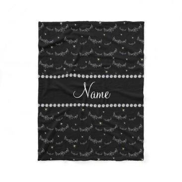 Halloween Themed Personalized name black glitter bats fleece blanket
