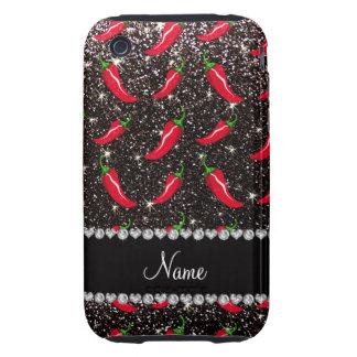 Personalized name black glitter chili pepper iPhone 3 tough covers