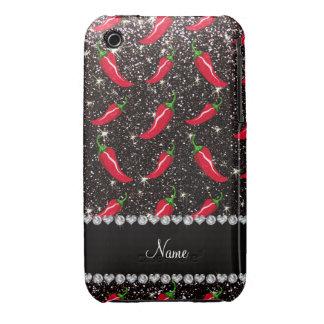 Personalized name black glitter chili pepper Case-Mate iPhone 3 cases