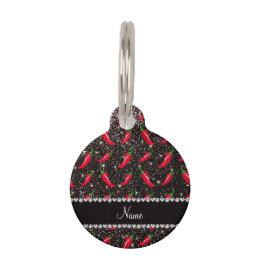 Personalized name black glitter chili pepper pet name tag