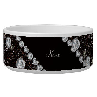 Personalized name black glitter diamonds bowl