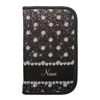 Personalized name black glitter diamonds folio planners
