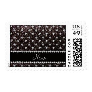 Personalized name black glitter diamonds postage