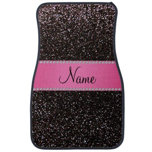 Personalized Name Black Glitter Pink Stripe Car Mat Zazzle