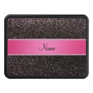 Personalized name black glitter pink stripe tow hitch cover