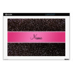 "Personalized name black glitter pink stripe skins for 17"" laptops"