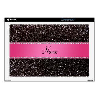"Personalized name black glitter pink stripe skins for 17"" laptops"