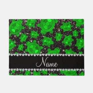 Personalized name black glitter sea turtles doormat