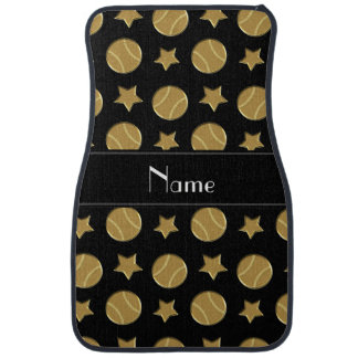 Personalized name black gold baseballs stars car mat
