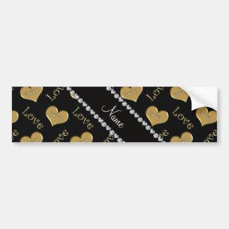 Personalized name black gold hearts mom love bumper sticker