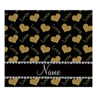 Personalized name black gold hearts mom love poster
