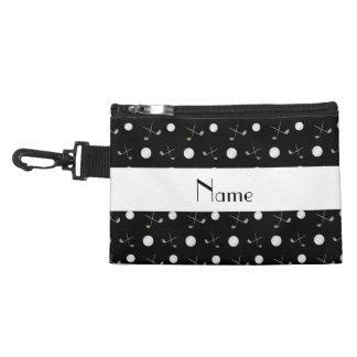 Personalized name black golf balls accessory bag