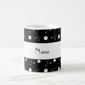 Personalized name black golf balls coffee mug