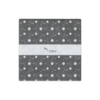 Personalized name black golf balls stone magnet