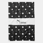 Personalized name black golf balls hand towel