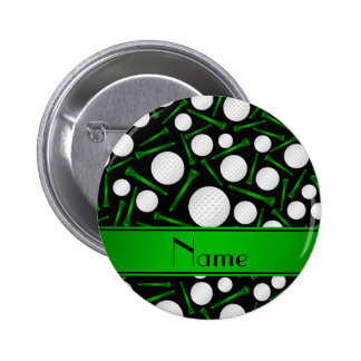 Personalized name black golf balls tees pinback button