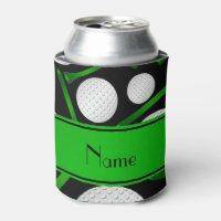 Personalized name black golf balls tees can cooler