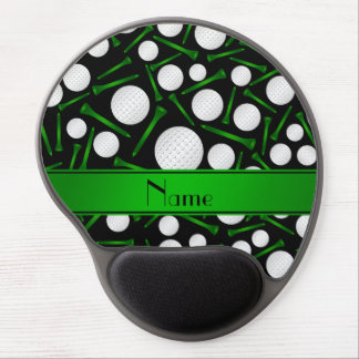 Personalized name black golf balls tees gel mousepad