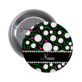 Personalized name black golf balls tees hearts 2 inch round button