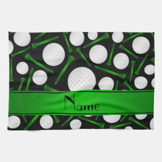 Personalized name black golf balls tees kitchen towel