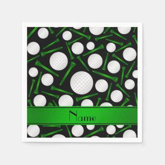 Personalized name black golf balls tees paper napkin