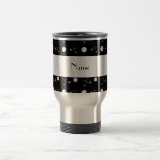 Personalized name black golf balls travel mug