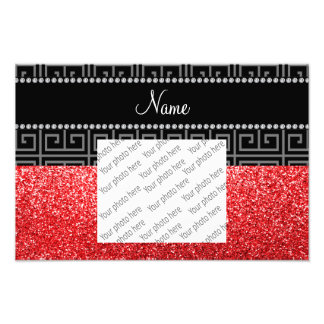 Personalized name black greek key red glitter photo