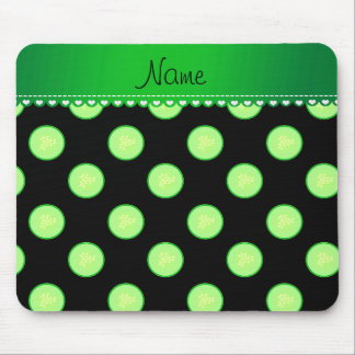 Personalized name black green cucumber slice mouse pad