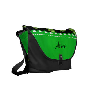 Personalized name black green frogs messenger bag