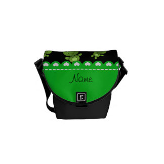 Personalized name black green frogs messenger bags