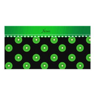 Personalized name black green kiwi photo card