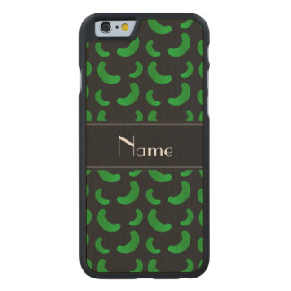 Personalized name black green pickles carved® maple iPhone 6 slim case