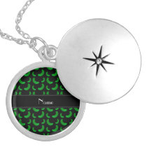 Personalized name black green pickles silver plated necklace