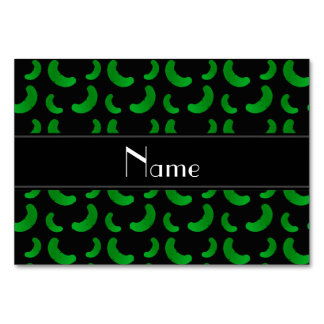 Personalized name black green pickles table card