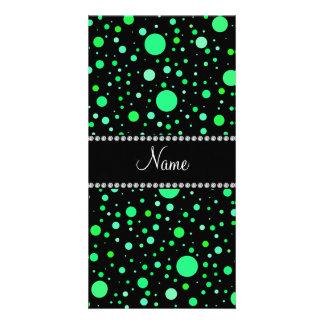 Personalized name black green polka dots photo card